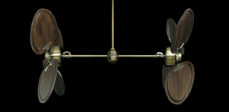 "Picture of Twin Star III Antique Brass with 50"" Series 950 Arbor Dark Walnut Blades"