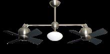 """24"""" Metropolitan Dual Ceiling Fan with Light in Satin Steel"""