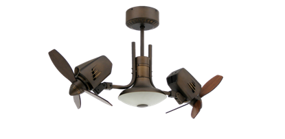 Picture of Mustang II 18 in. Dual Motor Oscillating Indoor/Outdoor Rubbed Bronze Ceiling Fan