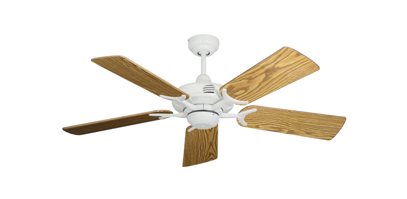 """Picture of Coastal Air Pure White with 44"""" Oak Gloss Blades"""