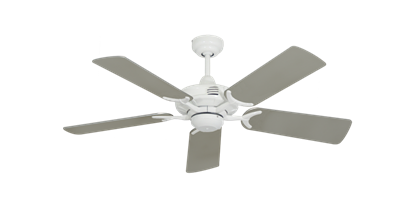 """Picture of Coastal Air Pure White with 44"""" Satin Steel (painted) Blades"""