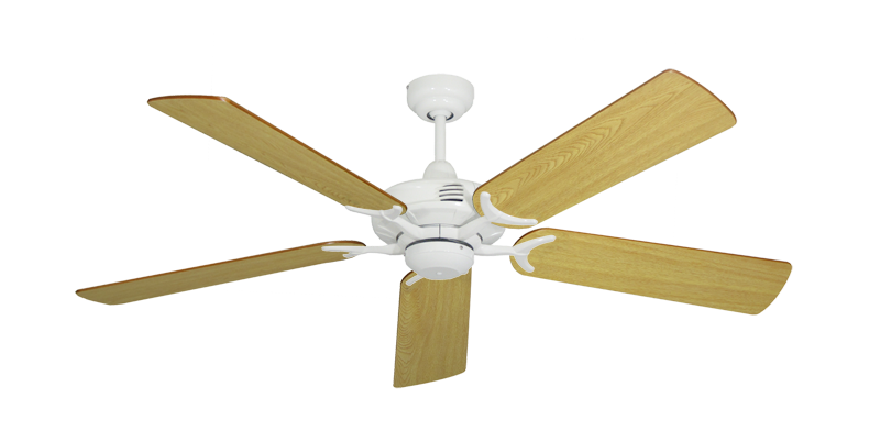"""Picture of Coastal Air Pure White with 52"""" Honey Oak Blades"""