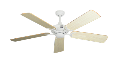 """Picture of Coastal Air Pure White with 52"""" Bleached Oak Gloss Blades"""