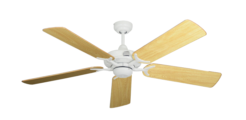 """Picture of Coastal Air Pure White with 52"""" Honey Oak Gloss Blades"""