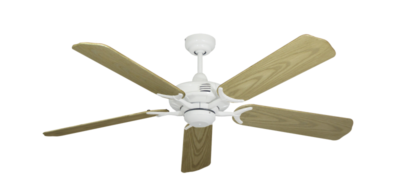 """Picture of Coastal Air Pure White with 52"""" Outdoor Bleached Oak Blades"""