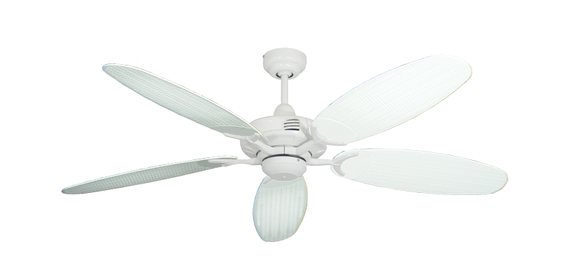 """Coastal Air Pure White with 52"""" Outdoor Wicker Pure White Blades"""