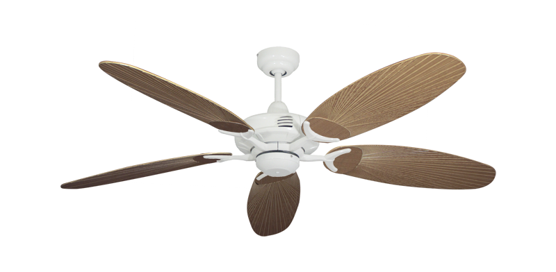 "Picture of Coastal Air Pure White with 52"" Outdoor Leaf Tan Blades"