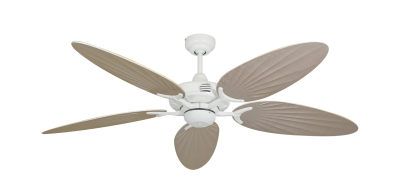 """Coastal Air Pure White with 52"""" Outdoor Palm Distressed White Blades"""