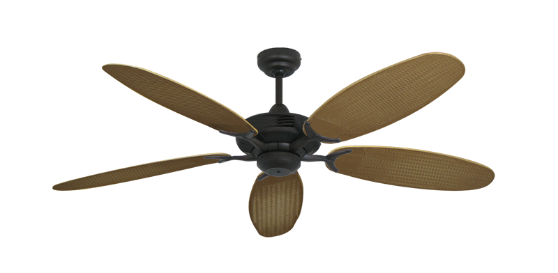 "Coastal Air Oil Rubbed Bronze with 52"" Outdoor Wicker Tan Blades"