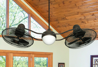 Duet Caged 2x15 in. Indoor/Outdoor Oil Rubbed Bronze Ceiling Fan with Light