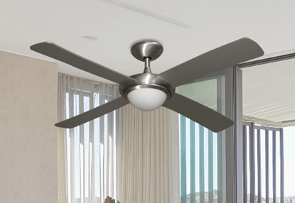 "52"" Luna Indoor Outdoor Ceiling Fan and Light in Brushed Aluminum with Remote Control"