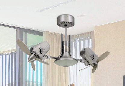 Picture of Mustang II 18 in. Dual Motor Oscillating Indoor/Outdoor Brushed Aluminum Ceiling Fan