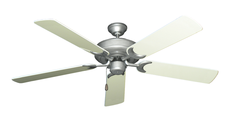 """Picture of Raindance Brushed Nickel BN-1 with 56"""" Antique White Gloss Blades"""