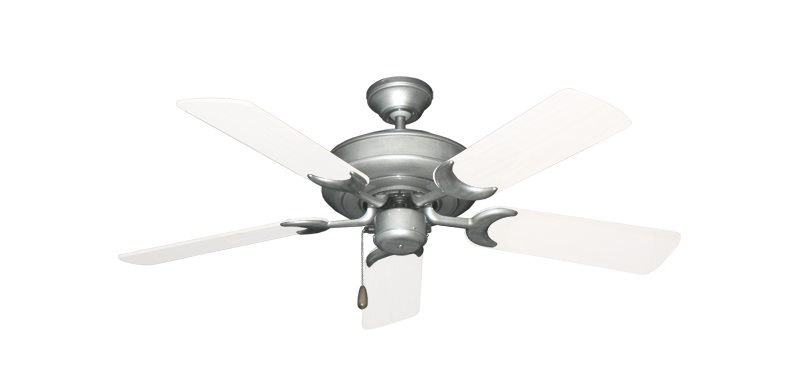 """Raindance Brushed Nickel BN-1 with 44"""" Outdoor Pure White Blades"""