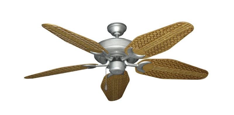 "Picture of Raindance Brushed Nickel BN-1 with 52"" Outdoor Weave Walnut Blades"
