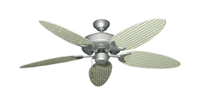 """Picture of Raindance Brushed Nickel BN-1 with 52"""" Outdoor Bamboo Antique White Blades"""