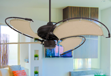 Voyage 40 in. Indoor/Outdoor Oil Rubbed Bronze Ceiling Fan with Khaki Fabric Blades