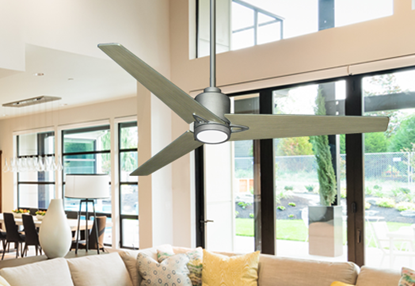 "Reveal 52"" Wifi Enabled Indoor/Outdoor Modern Ceiling Fan in Brushed Nickel with Remote and LED Light"