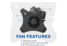 side view of outdoor misting fan