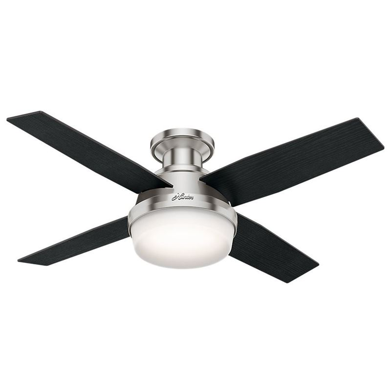 "Picture of Hunter  44"" Dempsey Low Profile with Light Brushed Nickel Ceiling Fan with Light with Handheld Remote, Model 59243"