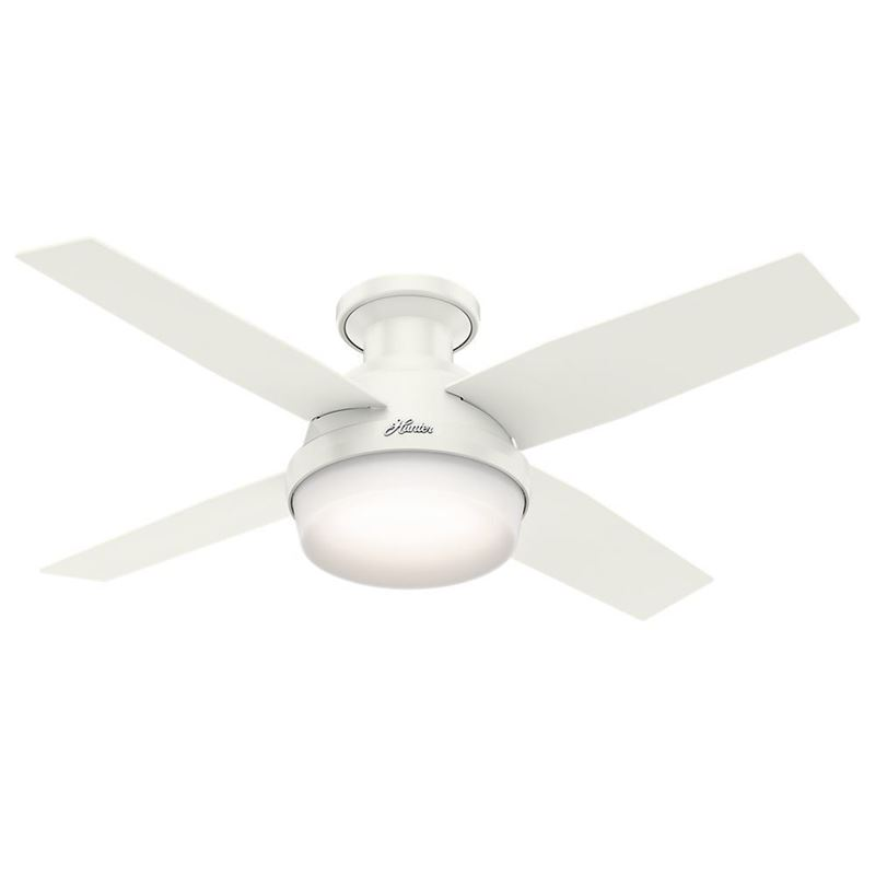 "Picture of Hunter  44"" Dempsey Low Profile with Light Fresh White Ceiling Fan with Light with Handheld Remote, Model 59244"