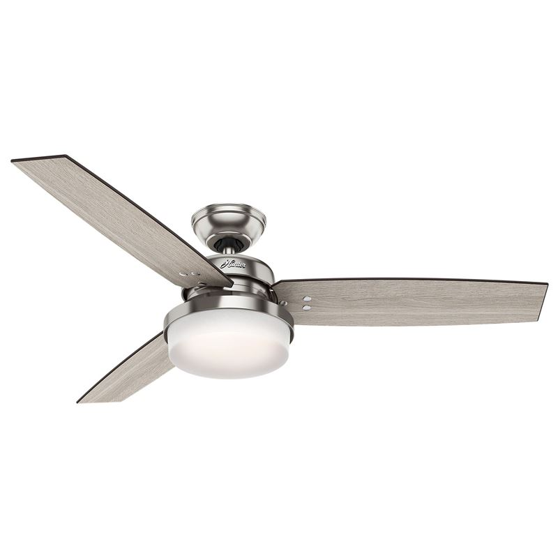 "Picture of Hunter  52"" Sentinel Brushed Nickel Ceiling Fan with Light with Handheld Remote, Model 59157"