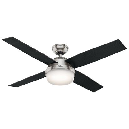 "Picture of Hunter  52"" Dempsey with Light Brushed Nickel Ceiling Fan with Light with Handheld Remote, Model 59216"