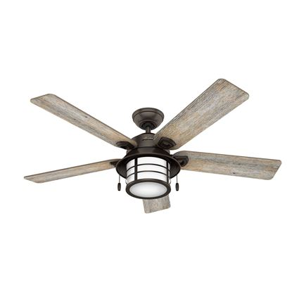 "Hunter  54"" Key Biscayne Onyx Bengal Ceiling Fan with Light , Model 59273"
