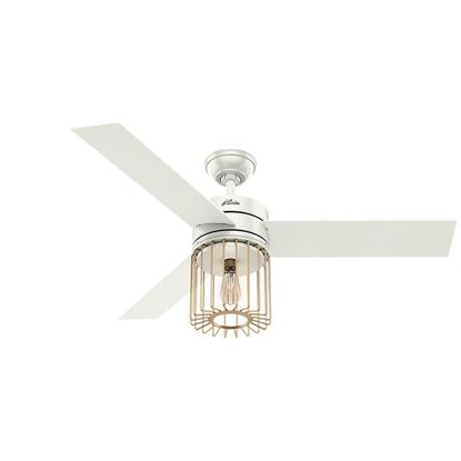 "Picture of Hunter  52"" Ronan Fresh White Ceiling Fan with Light with Handheld Remote, Model 59238"