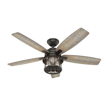 "Hunter 52"" Coral Bay Noble Bronze Ceiling Fan with Light with Integrated Control System - Handheld, Model 59420"