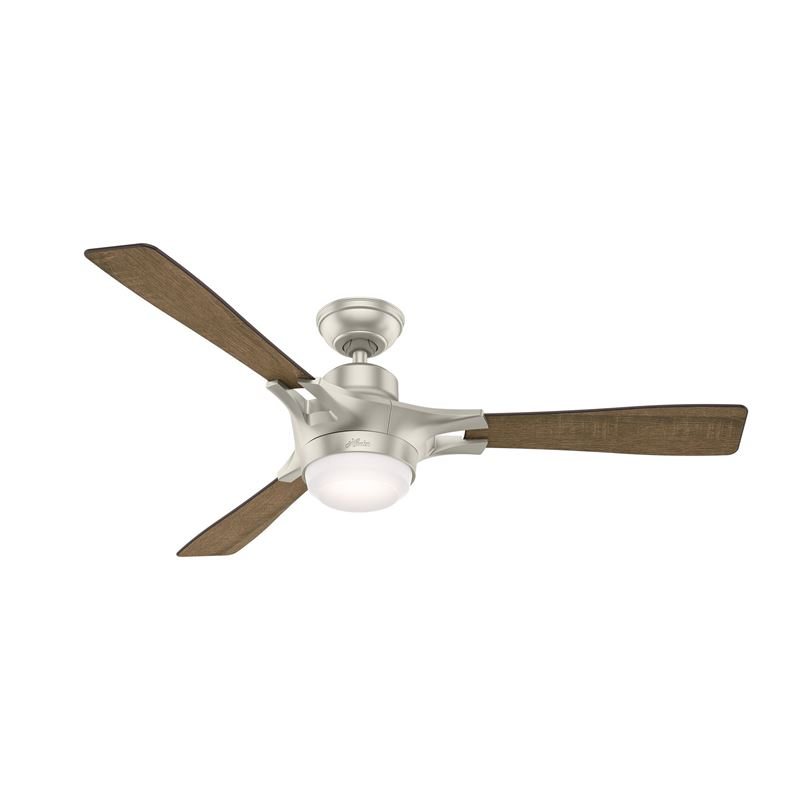 """Hunter WiFi Enabled HomeKit Compatible  54"""" Signal Matte Nickel Ceiling Fan with Light with Integrated Control System - Handheld, Model 59378"""