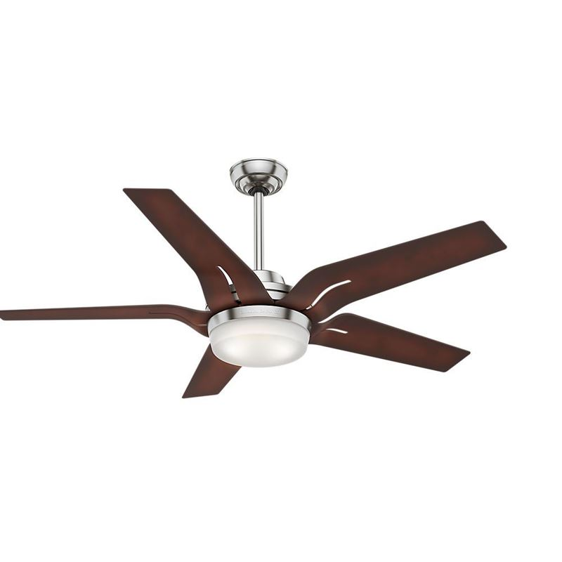 """Picture of Casablanca  56"""" Correne w LED Light White B 56 Brushed Nickel Ceiling Fan with Light with Handheld Remote, Model 59198"""