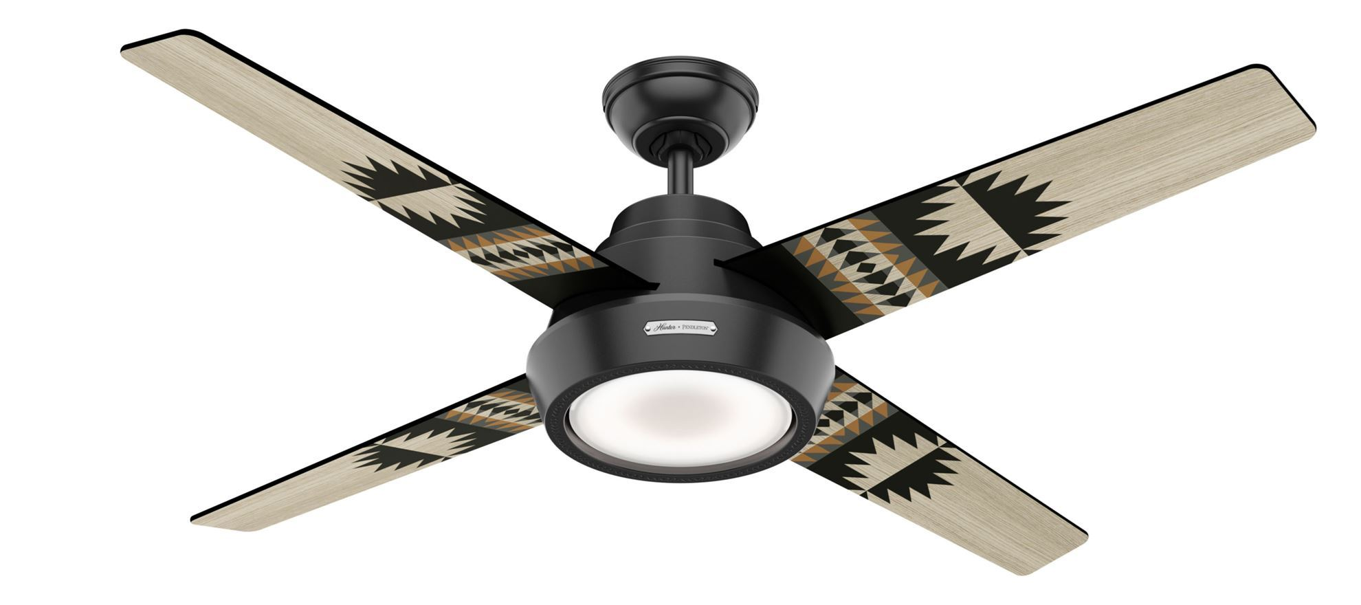Hunter 54 Pendelton Spider Rock Eagle Rock Matte Black Ceiling Fan With Light Model 59389 Dan S Fan City Ceiling Fans Fan Parts Accessories
