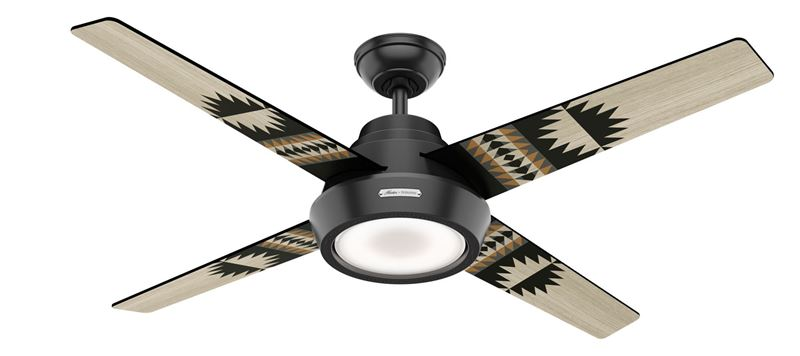 "Picture of Hunter 54"" Pendelton Spider Rock/Eagle Rock Matte Black Ceiling Fan with Light, Model 59389"