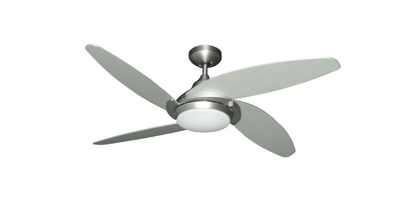 "Picture of Tuscan 52"" Indoor Contemporary Satin Steel Ceiling Fan with LED Light and Remote"