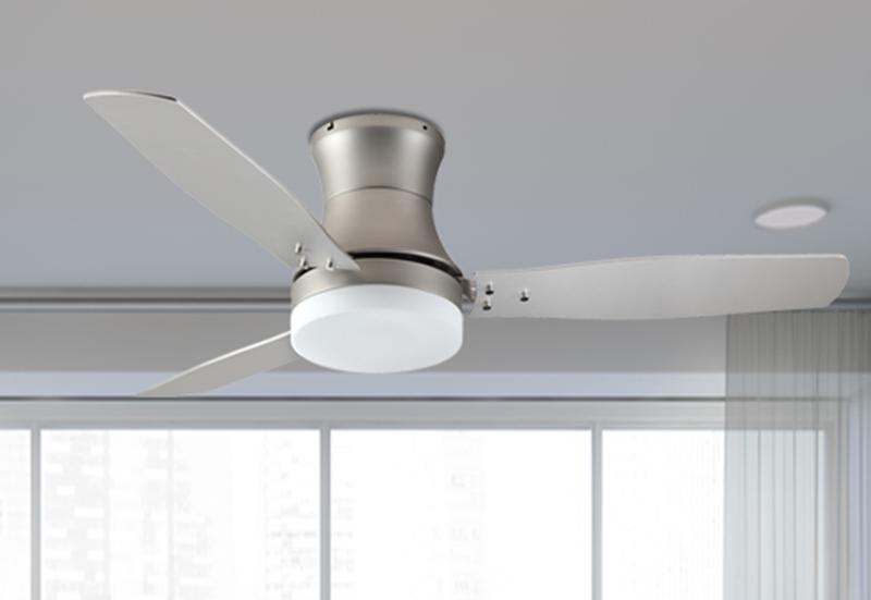 "Modernaire 52"" Satin Steel Ceiling Fan and Light"