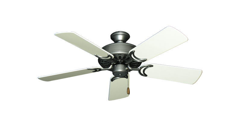 """Picture of Dixie Belle Brushed Nickel with 44"""" Antique White Gloss Blades"""