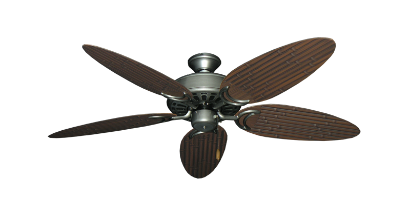 "Picture of Dixie Belle Brushed Nickel with 52"" Outdoor Bamboo Brushed Nickel Blades"