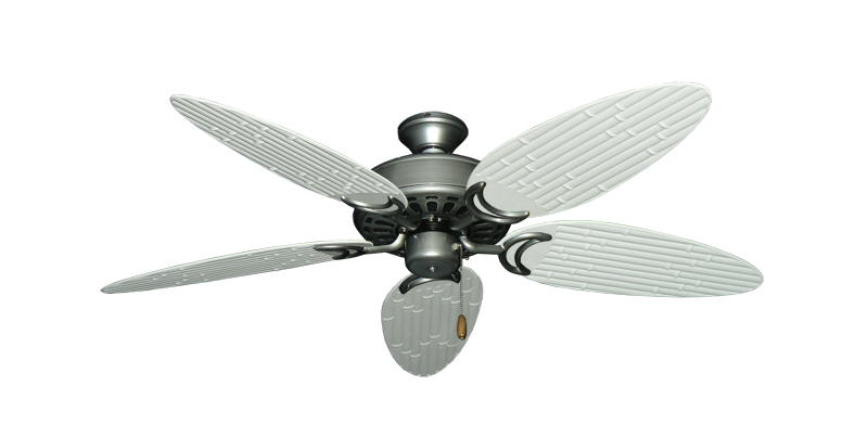 """Dixie Belle Brushed Nickel with 52"""" Outdoor Bamboo Pure White Blades"""