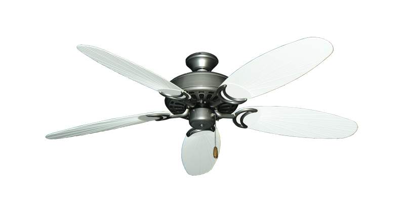 "Picture of Dixie Belle Brushed Nickel with 52"" Outdoor Leaf Pure White Blades"