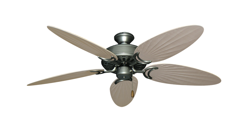"""Dixie Belle Brushed Nickel with 52"""" Outdoor Palm Distressed White Blades"""