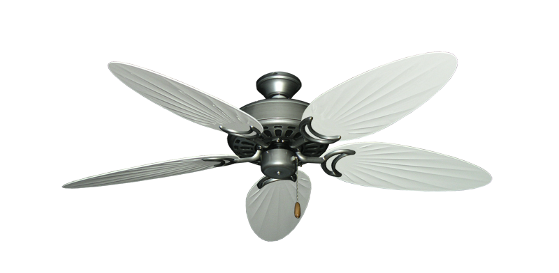 """Dixie Belle Brushed Nickel with 52"""" Outdoor Palm Pure White Blades"""