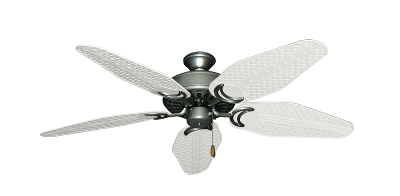 """Picture of Dixie Belle Brushed Nickel with 52"""" Outdoor Weave Pure White Blades"""