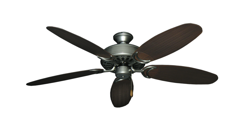 "Picture of Dixie Belle Brushed Nickel with 52"" Outdoor Wicker Brushed Nickel Blades"