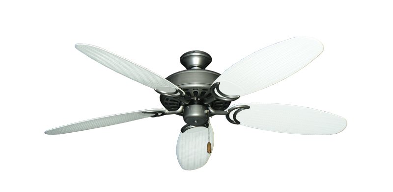 "Picture of Dixie Belle Brushed Nickel with 52"" Outdoor Wicker Pure White Blades"