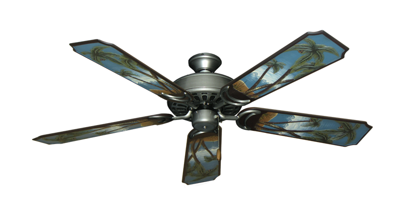"""Dixie Belle Brushed Nickel with 52"""" Series 351 Arbor Palm Tree Blades"""
