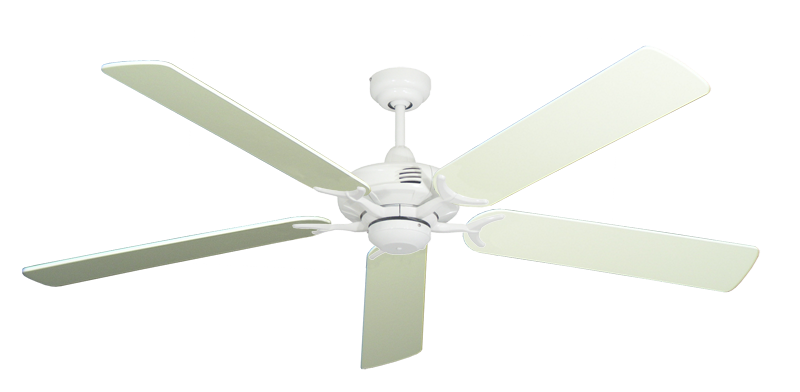 """Picture of Coastal Air Pure White with 60"""" Antique White Blades"""