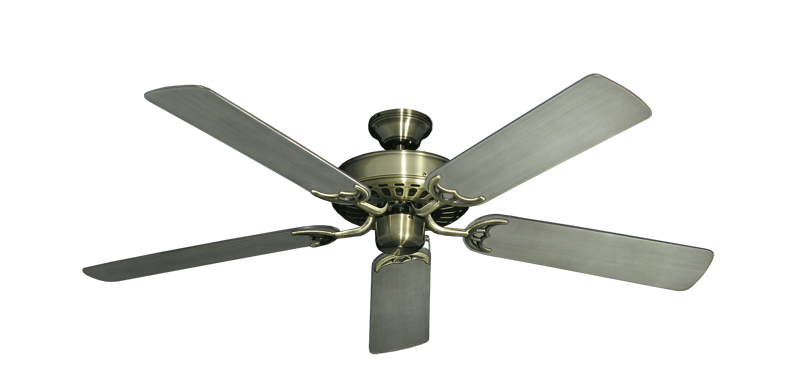 "Picture of Bimini Breeze V Antique Brass with 52"" Outdoor Brushed Nickel BN-1 Blades"
