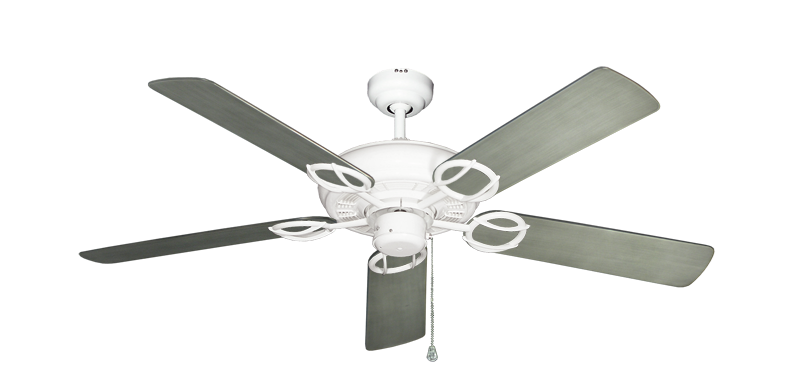 """Picture of Trinidad Pure White with 52"""" Outdoor Brushed Nickel BN-1 Blades"""