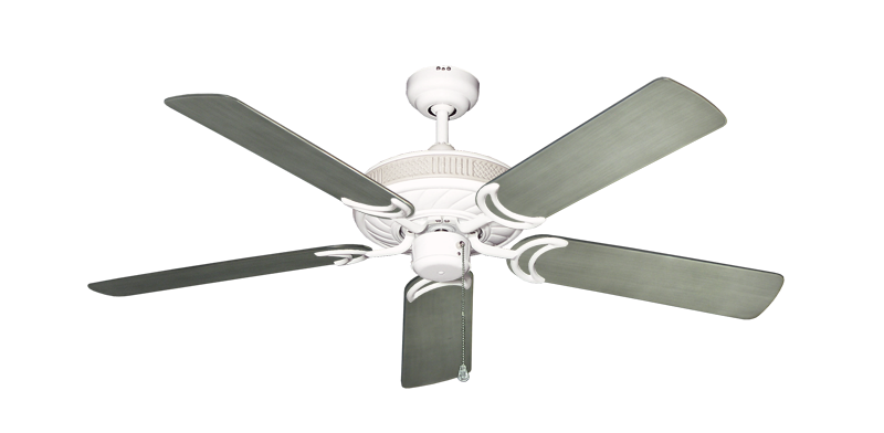 """Atlantis Pure White with 52"""" Outdoor Brushed Nickel BN-1 Blades"""